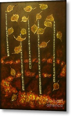 Golden Leaves 2 Metal Print by Elena  Constantinescu