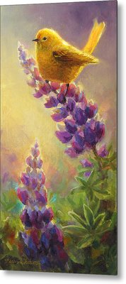 Golden Light 2 Wilsons Warbler And Lupine Metal Print by Karen Whitworth