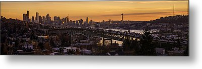 Golden Light On The City Seattle Metal Print by Mike Reid