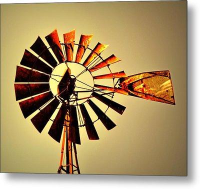 Golden Light Windmill Metal Print by Marty Koch