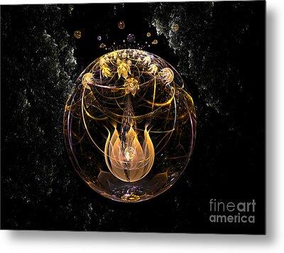 Golden Lotus In Deep Space Metal Print by Peter R Nicholls