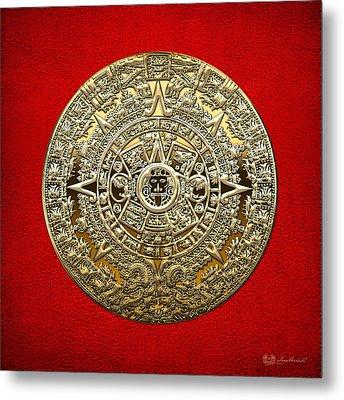 Golden Mayan-aztec Calendar On Red Metal Print by Serge Averbukh