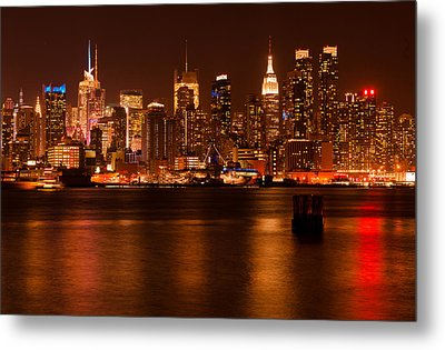 Golden New York Skyline Metal Print