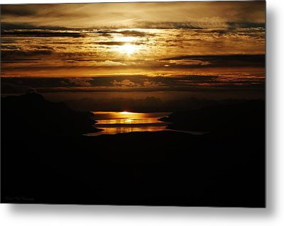 Golden Norse Fjordland Sunset Metal Print by David Broome
