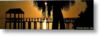 Golden Pier Panorama Metal Print