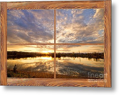 Golden Ponds Sunset Reflections  Barn Wood Picture Window View Metal Print by James BO  Insogna