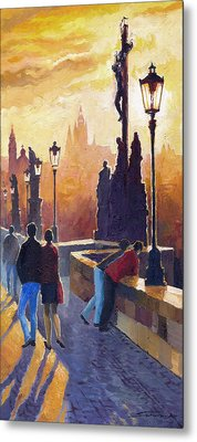 Golden Prague Charles Bridge Metal Print