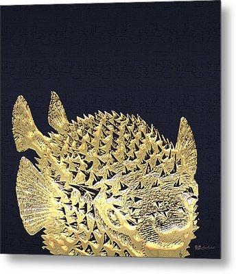 Golden Puffer Fish On Charcoal Black Metal Print