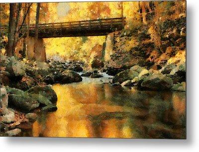 Golden Reflection Autumn Bridge Metal Print