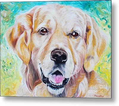 Metal Print featuring the painting Golden Retriever by PainterArtist FINs husband Maestro
