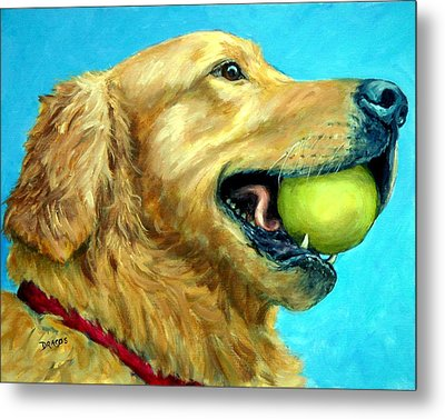 Golden Retriever Profile With Tennis Ball Metal Print by Dottie Dracos