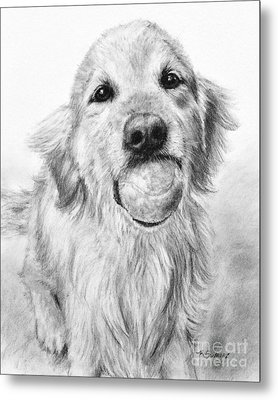 Golden Retriever With Ball Metal Print