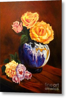 Metal Print featuring the painting Golden Roses by Jenny Lee