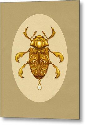 Golden Scroll Beetle Metal Print by Catherine Noel
