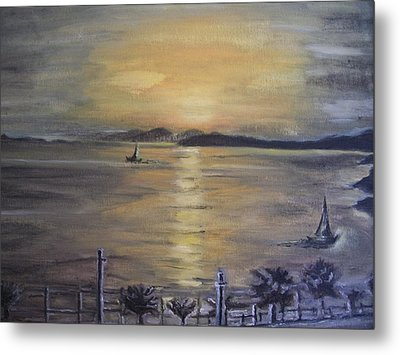 Metal Print featuring the painting Golden Sea View by Teresa White