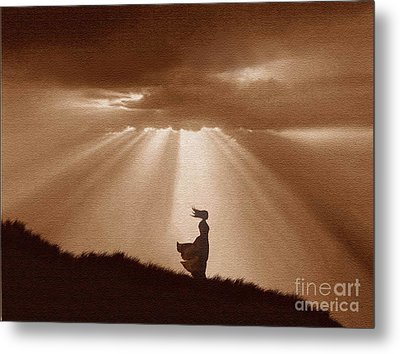 Golden Shafts Metal Print