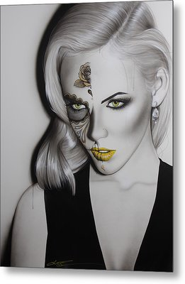 Sugar Skull - ' Golden Soul ' Metal Print