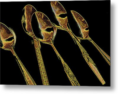 Metal Print featuring the photograph Golden Spoons by Marwan Khoury