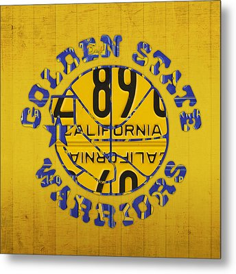 Golden State Warriors Basketball Team Retro Logo Vintage Recycled California License Plate Art Metal Print by Design Turnpike