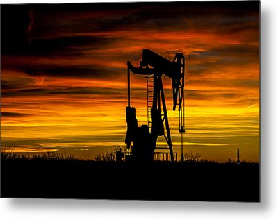 Golden Sunrise And West Texas Black Gold Metal Print