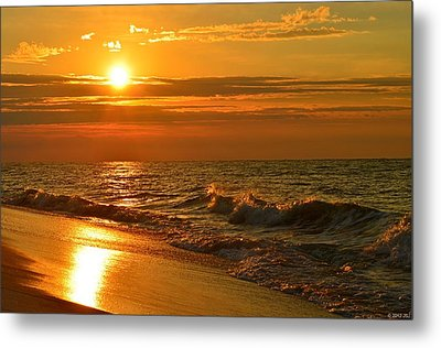 Golden Sunrise Colors With Waves And Horizon Clouds On Navarre Beach Metal Print