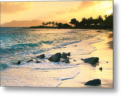 Golden Sunrise On Sapphire Beach Metal Print