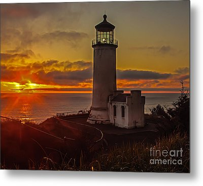 Golden Sunset At North Head Lighthouse Metal Print by Robert Bales