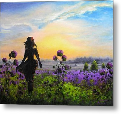 Metal Print featuring the painting Golden Surrender by Vesna Martinjak