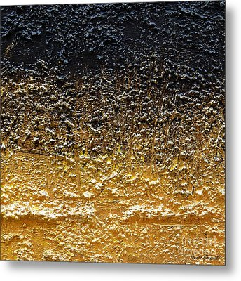 Metal Print featuring the painting Golden Time - Abstract by Ismeta Gruenwald