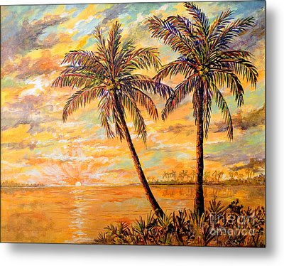 Metal Print featuring the painting Golden Tropics by Lou Ann Bagnall