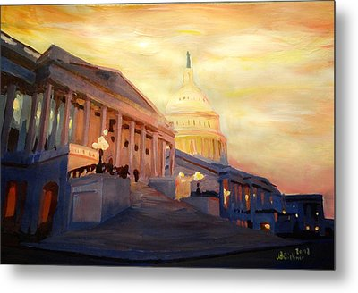 Golden United States Capitol In Washington D.c. Metal Print by M Bleichner