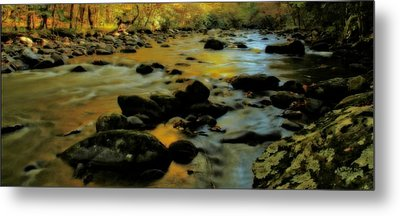 Golden View Of The Little River In Autumn Metal Print