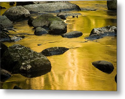 Metal Print featuring the photograph Golden Water by Jay Stockhaus