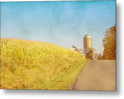 Golden Yellow Cornfield And Barn With Blue Sky Metal Print by Brooke T Ryan