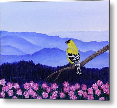 Goldfinch And Rhododendrens Metal Print