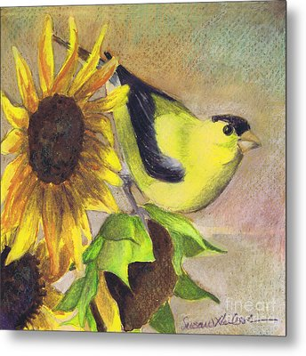 Metal Print featuring the painting Goldfinch And Sunflowers by Susan Herbst