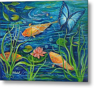 Goldfish And Butterfly Metal Print by Yolanda Rodriguez