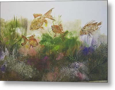 Goldfish Metal Print by Nancy Gorr