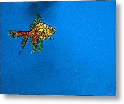 Goldfish Study 4 - Stone Rock'd Art By Sharon Cummings Metal Print by Sharon Cummings