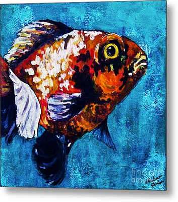 Metal Print featuring the mixed media Goldie by Melissa Sherbon