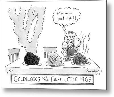 Goldilocks And The Three Little Pigs Metal Print