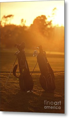 Golf Bags At Sunset Metal Print by Diane Diederich