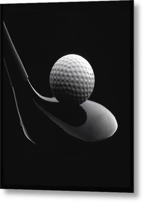 Golf Ball And Club Metal Print by John Wong