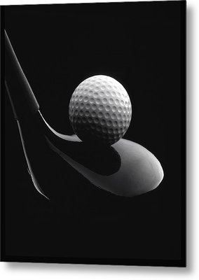 Golf Ball And Club Metal Print