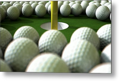 Golf Ball Hole Assault Metal Print by Allan Swart