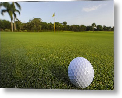 Golf Ball On Golf Course Metal Print by M Cohen