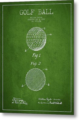 Golf Ball Patent Drawing From 1908 - Green Metal Print by Aged Pixel