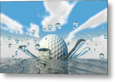 Golf Ball Water Splash Metal Print by Allan Swart