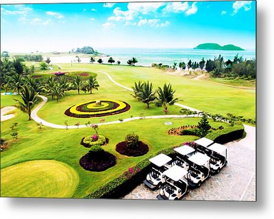 Golf Carts On A Golf Course Metal Print by Lanjee Chee
