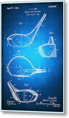 Golf Club Patent Blueprint Drawing Metal Print